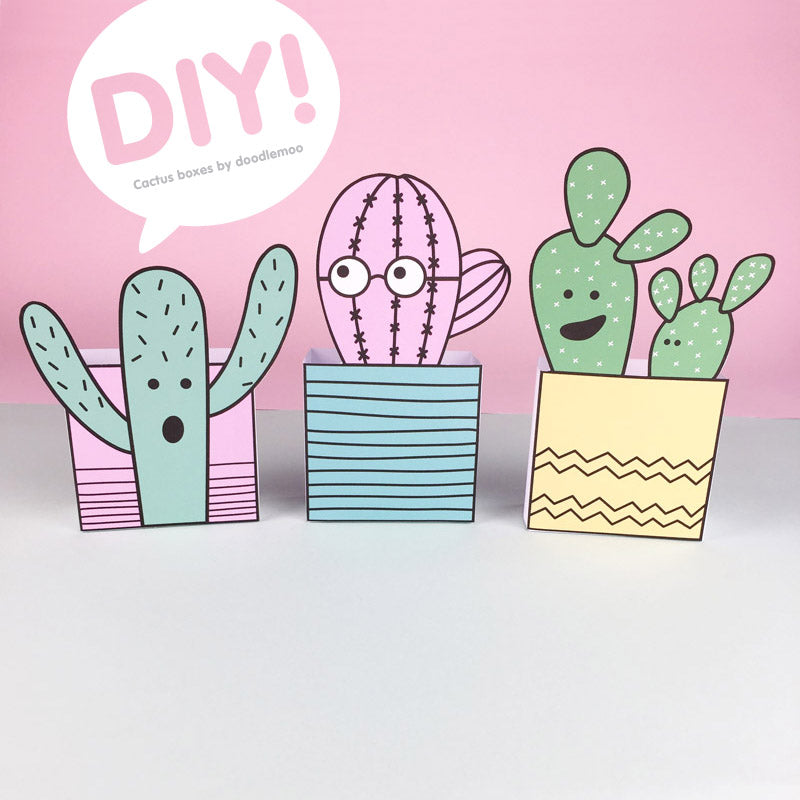 Cacti box making activity - Free printable