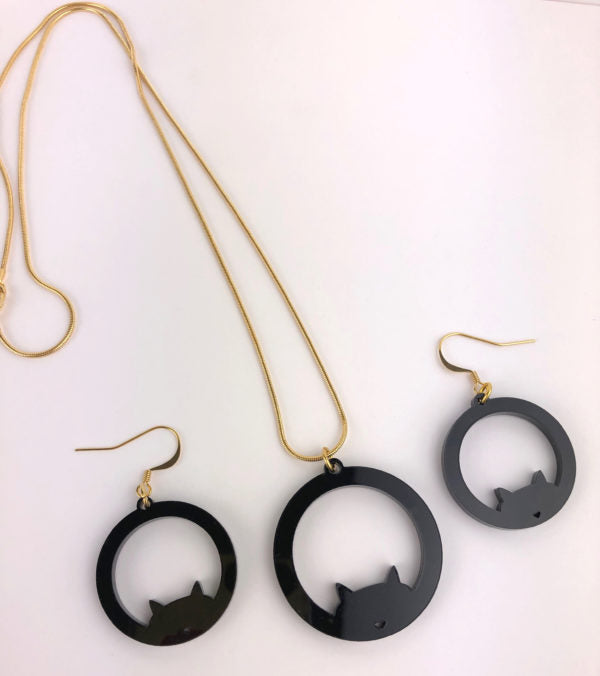 Luna Eclipse; Cat Necklace Sterling Silver