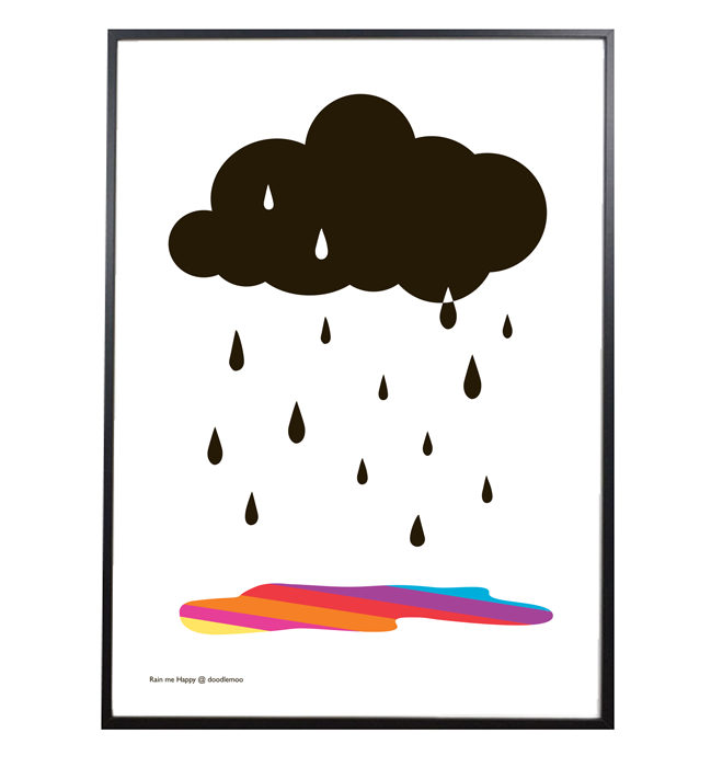 Rain Me Happy Cloud print white
