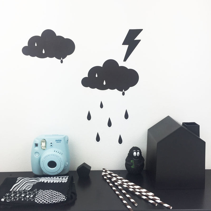 A Set of Cloud and rain drop Wall Decals monochrome from playful brand Doodlemoo