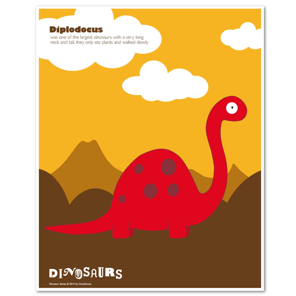 Diplodocus dinosaur Print in red and yellow