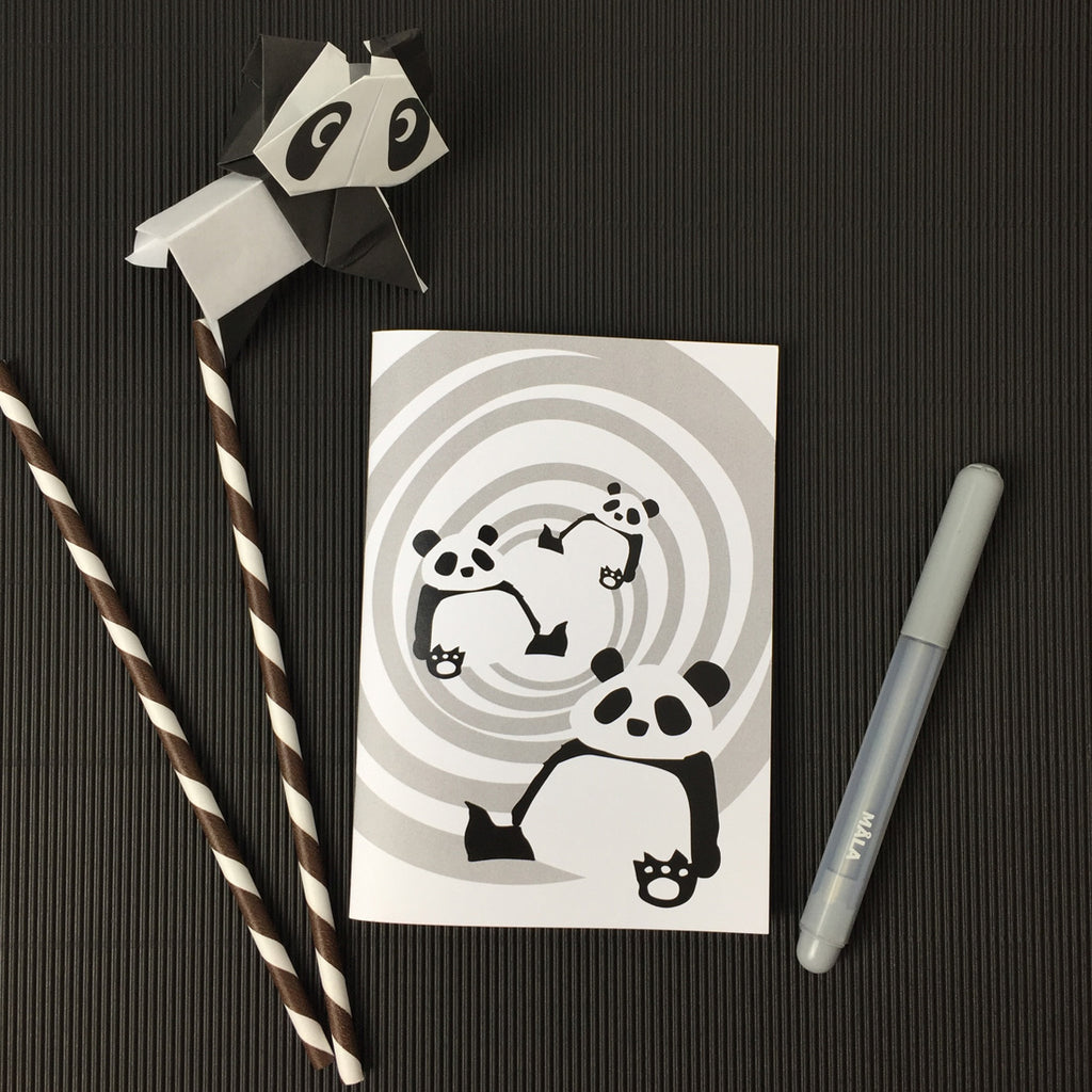 Pandas black and white notebook