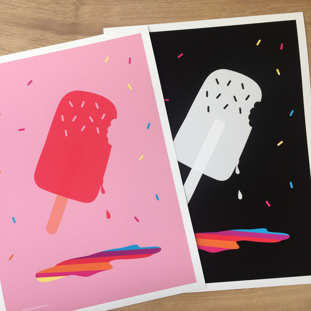 Ice Lolly print in pink and black