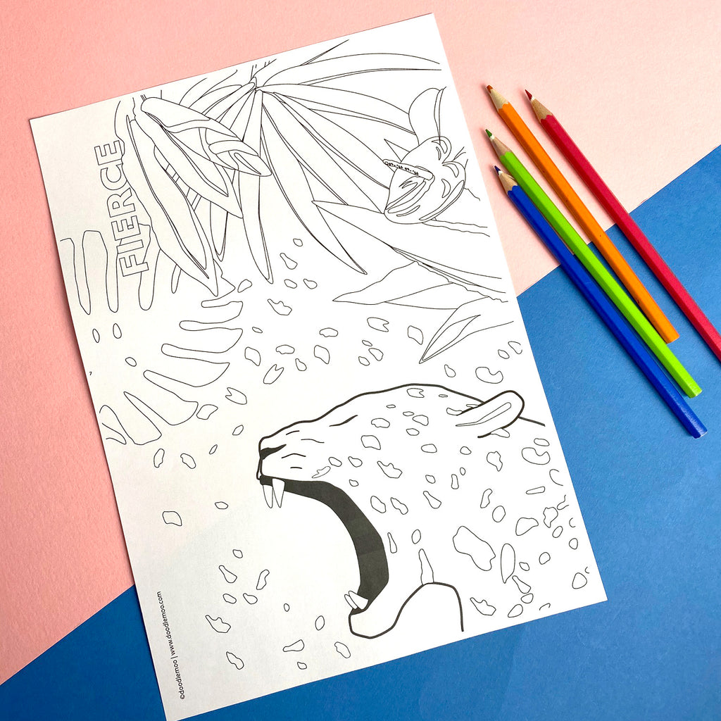 FIERCE - Free printable colour me in