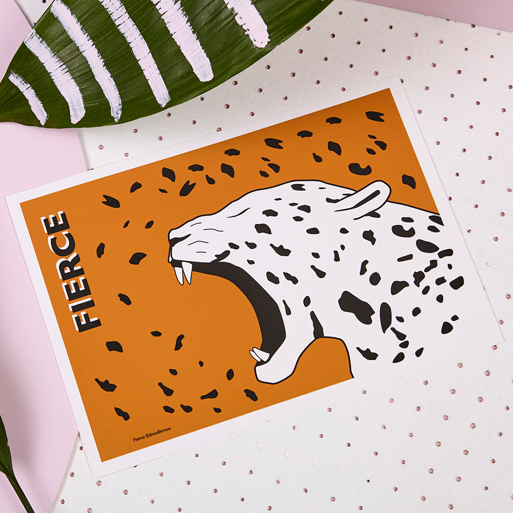 FIERCE Jaguar print; brown