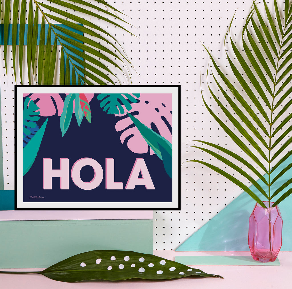 HOLA Tropical Art Print; blue