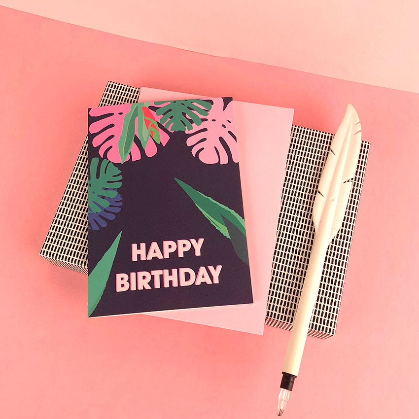 Happy Birthday Tropical greetings card by Doodlemoo