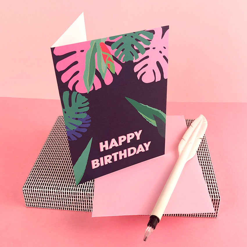 HAPPY BIRTHDAY tropical greetings card