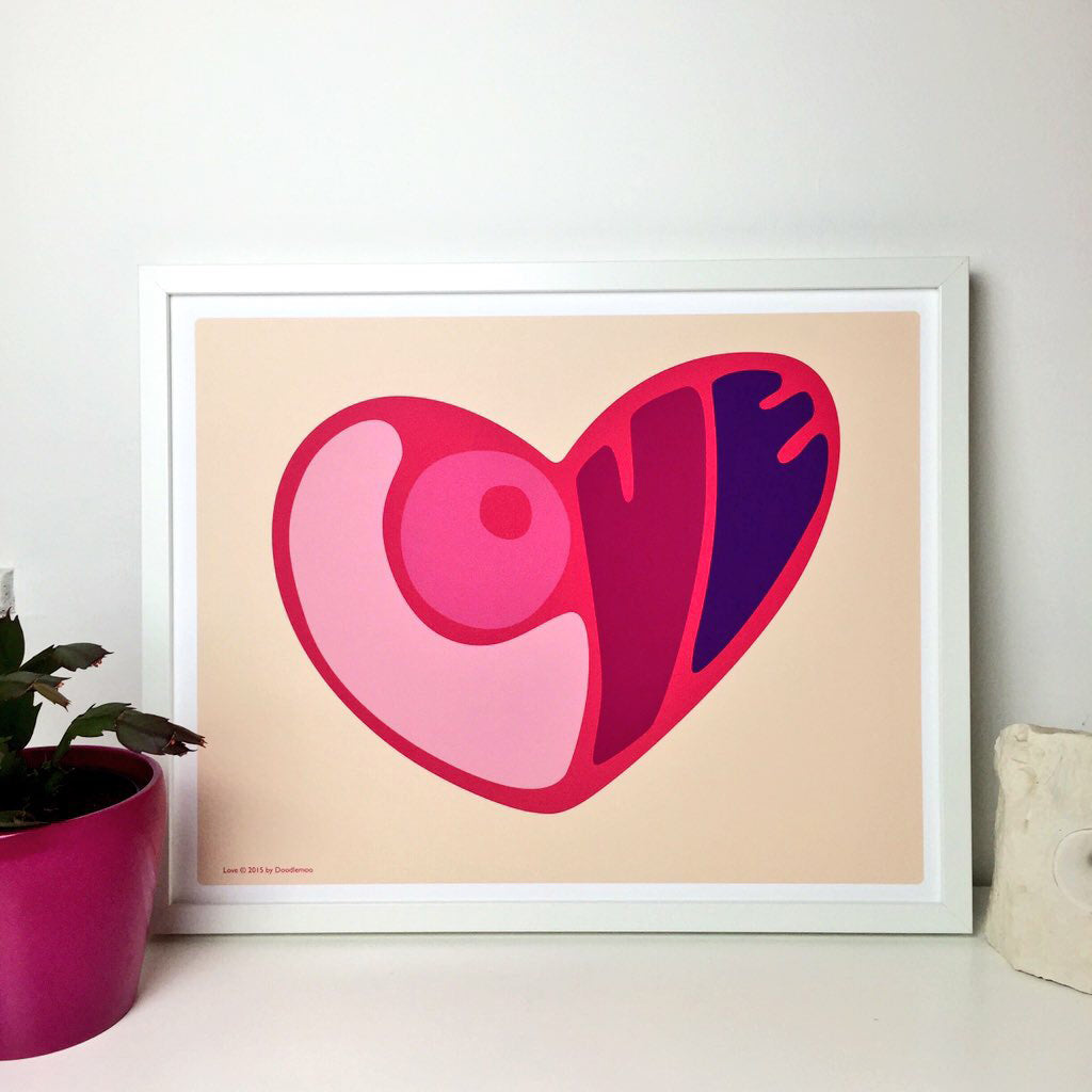 Heart Personalised Art Print with word inside
