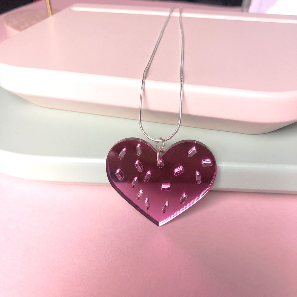 Heart and Sprinkles Necklace, pink mirror acrylic and Sterling Silver chain designed by Doodlemoo