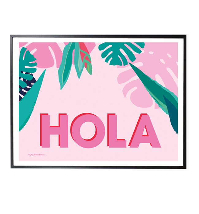 HOLA Tropical Art Print in pink