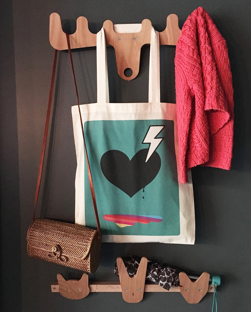 Tote bag with 'Love Struck' design from Doodlemoo