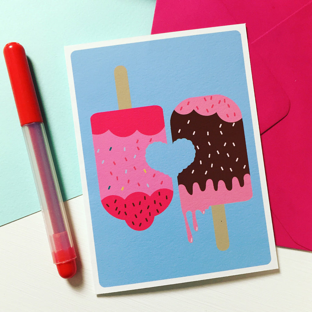 ICE LOLLY LOVE, Strawberry and chocolate, love card