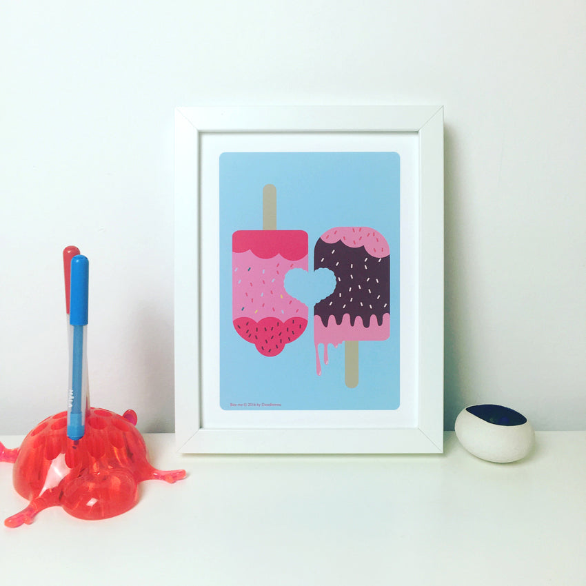 ICE LOLLY LOVE, Strawberry and chocolate, mini print