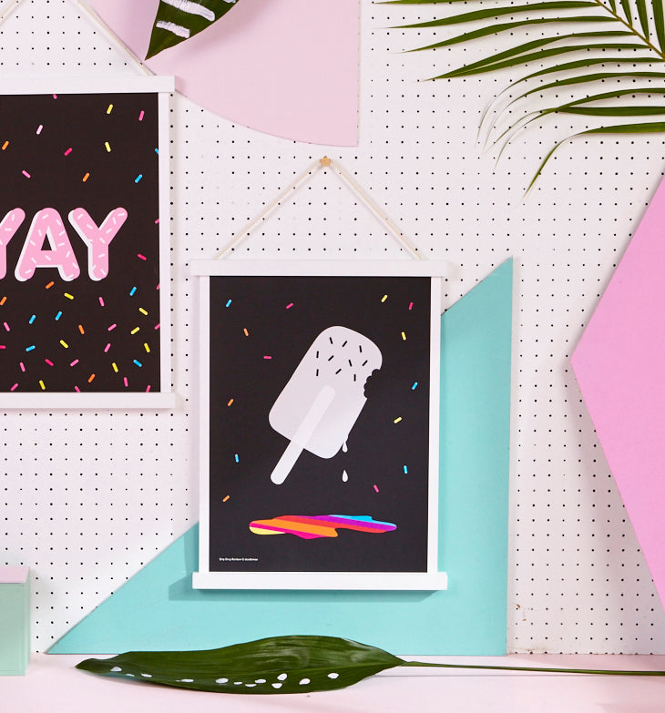 Ice Lolly print; 'Drip drop rainbow'