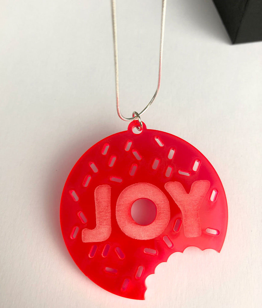 JOY doughnut acrylic necklace with sterling silver chain