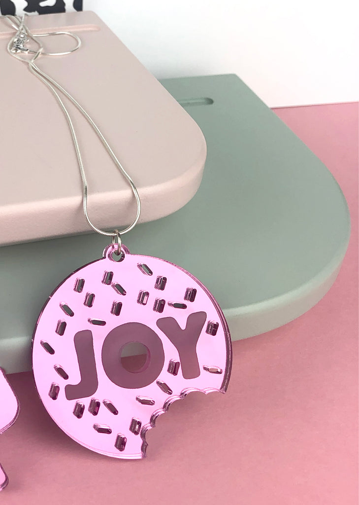 JOY mirror pink necklace with sterling silver chain