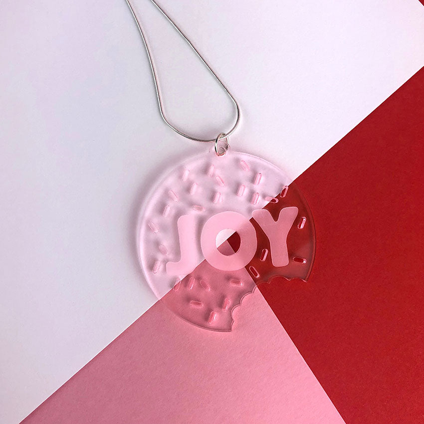 JOY doughnut and sprinkles necklace