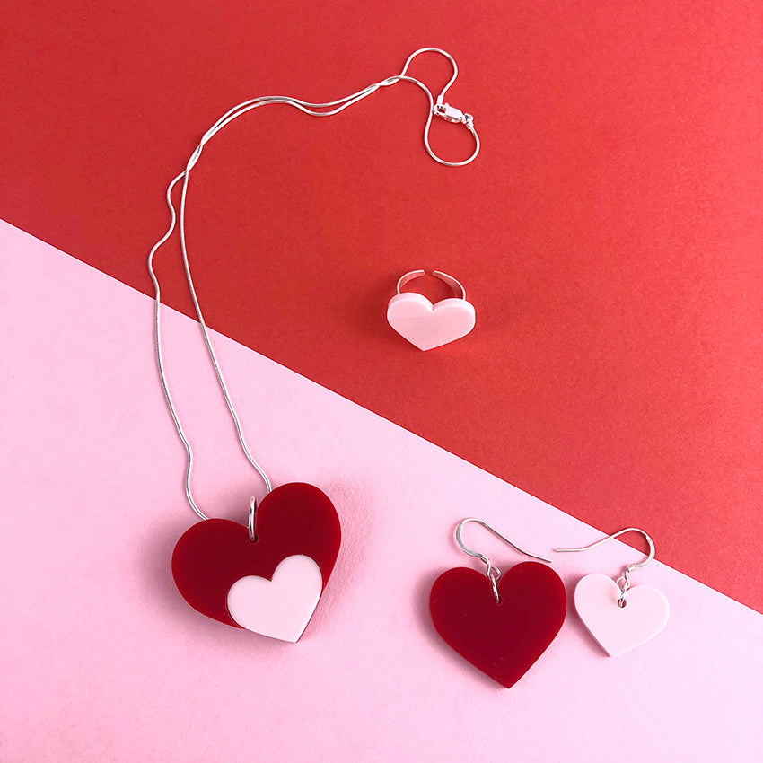 Love Shout Acrylic Jewelery by Doodlemoo in red and pink