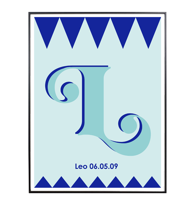 PERSONALISED LETTER POSTER; with name and date of birth