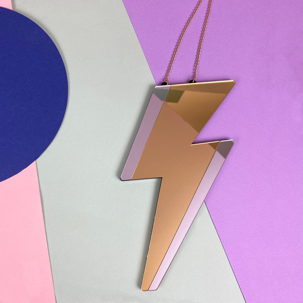 Lightning bolt mirror 'LIGHT ME' Gold&Sliver