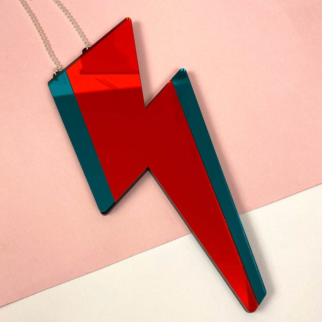 Lightning bolt mirror 'LIGHT ME' Red&Teal