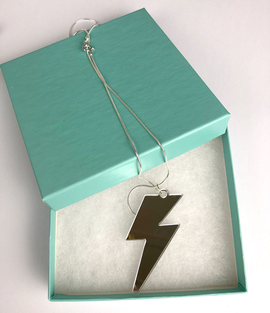 Lightning Bolt Necklace - Sterling Silver and Acrylic mirror
