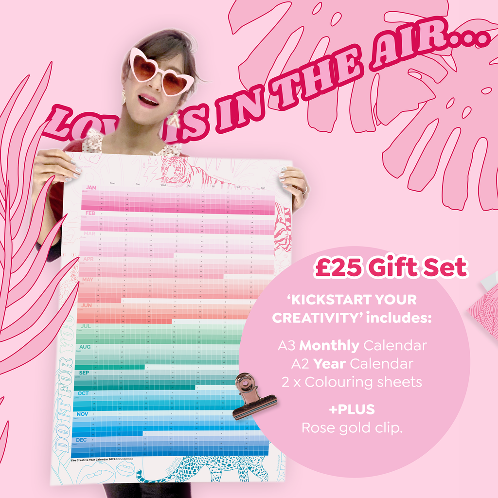 Kickstart your Creativity - Monthly A3 & Year A2 & colouring in sheets & poster Clips
