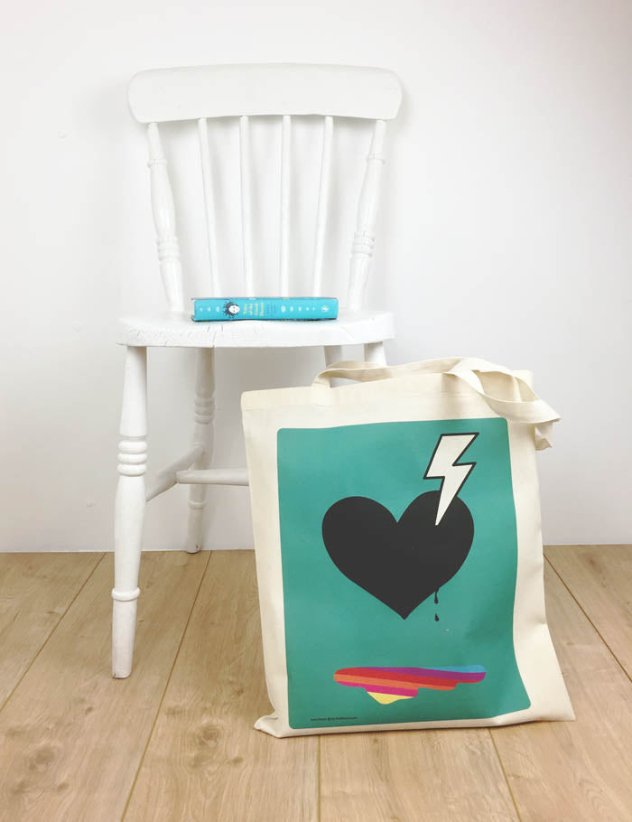 Tote bag with heart blue