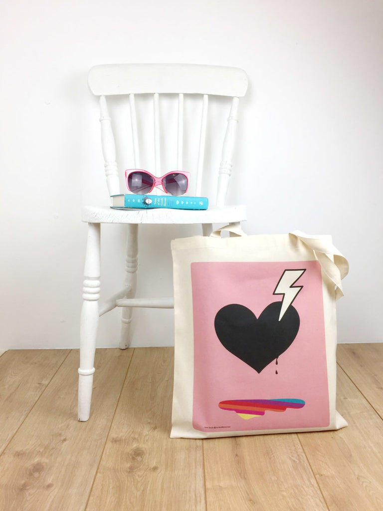 Heart Tote Bag; 'Love Struck' in pink