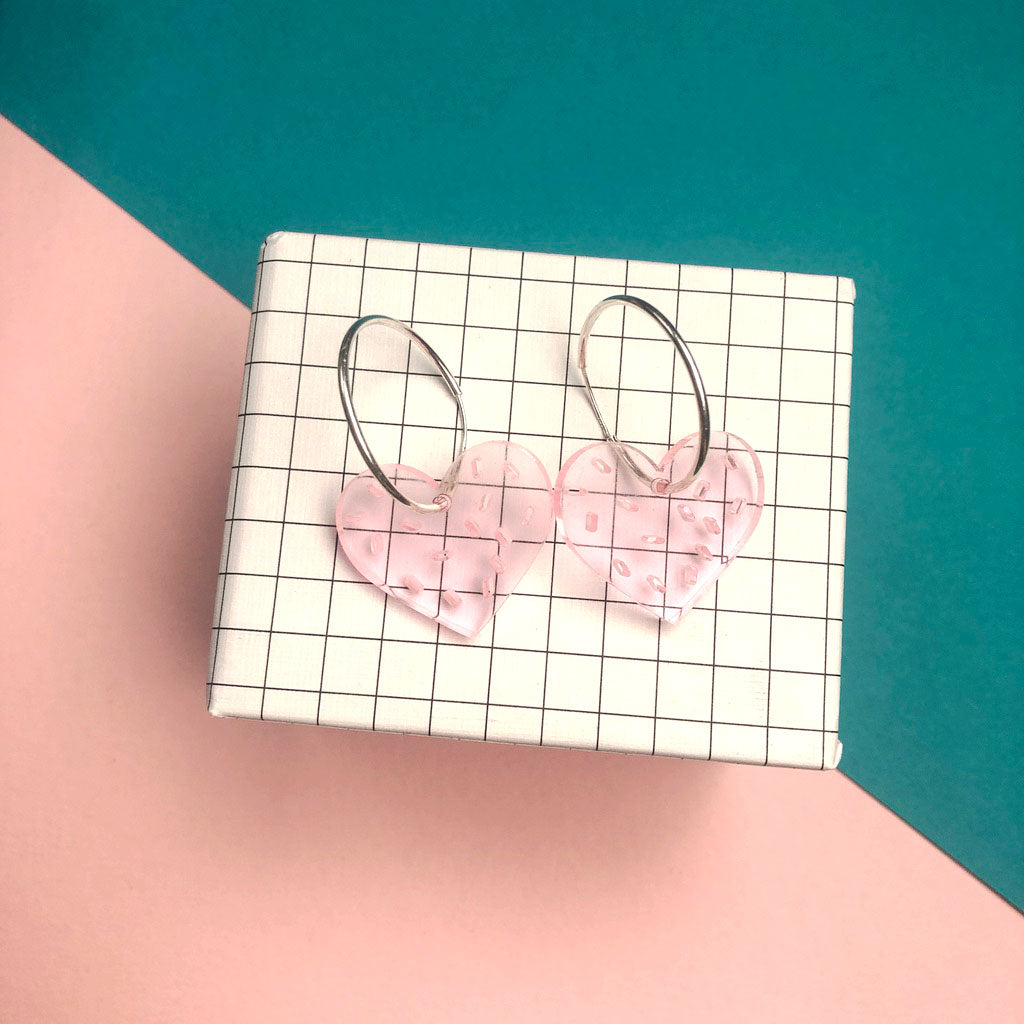 Love Sprinkles acrylic earrings with Sterling Silver Hoops by playful brand Doodlemoo