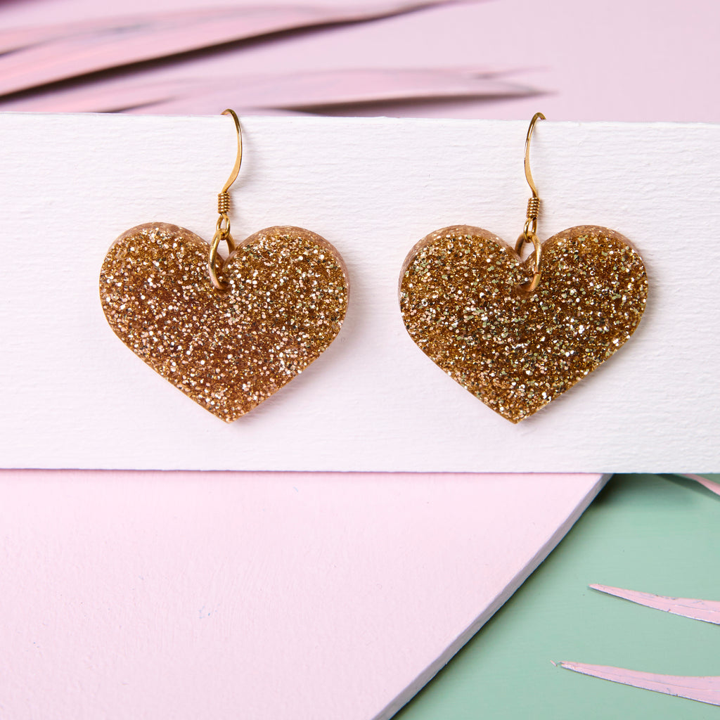 Love Rocks - Gold Glitter Earrings