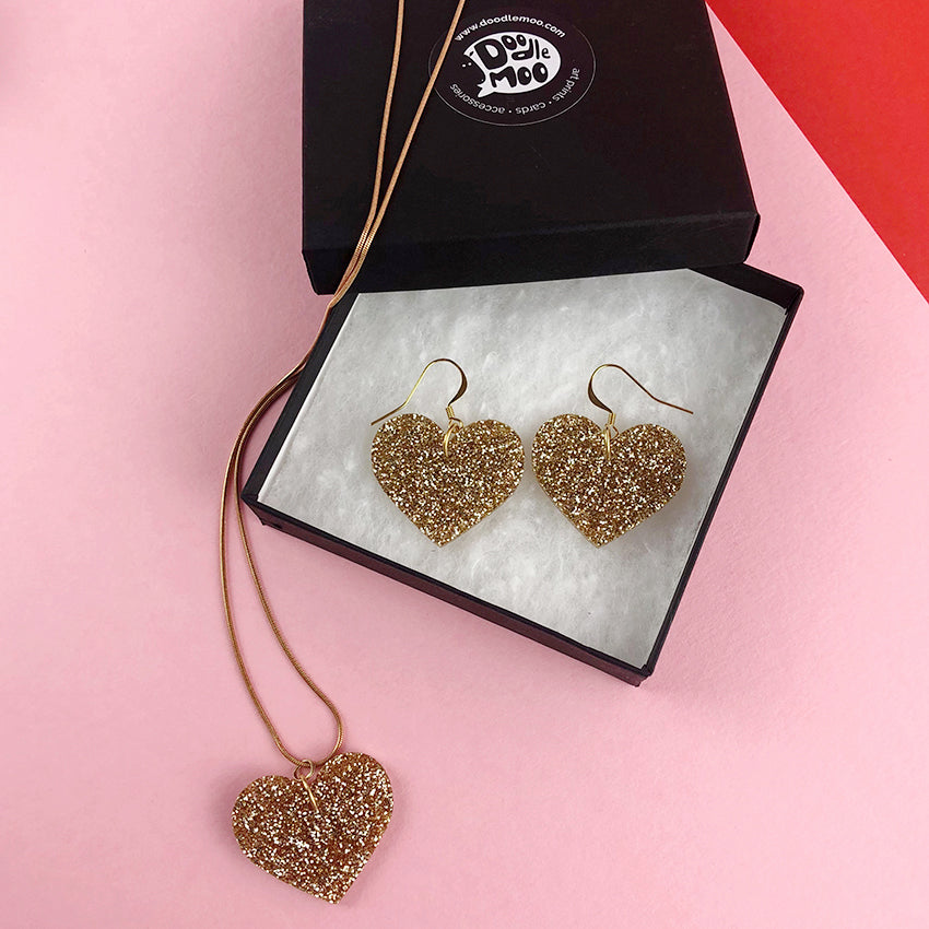 Love Rocks Heart Acrylic Jewellery designed by Doodlemoo