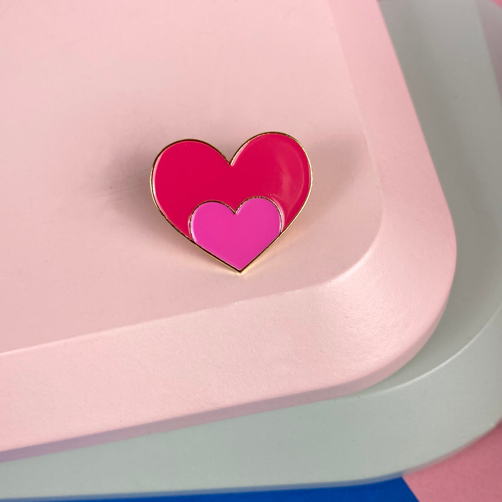 HEART Enamel Pin Pink; Love Shout