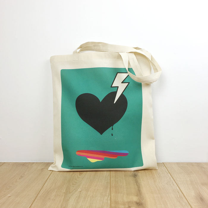 Tote bag heart and bolt blue
