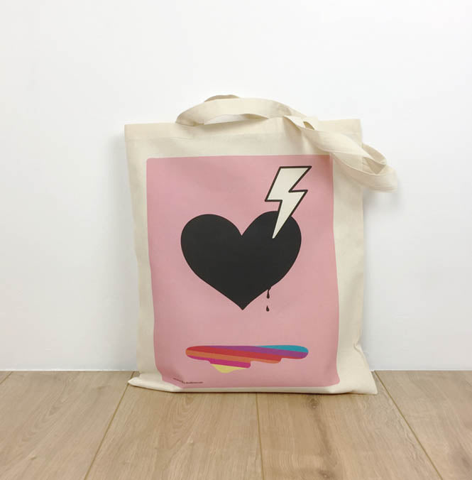 Pink Tote bag with heart and bolt