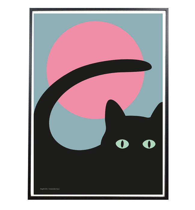 LUNA ECLIPSE; Cat print/poster