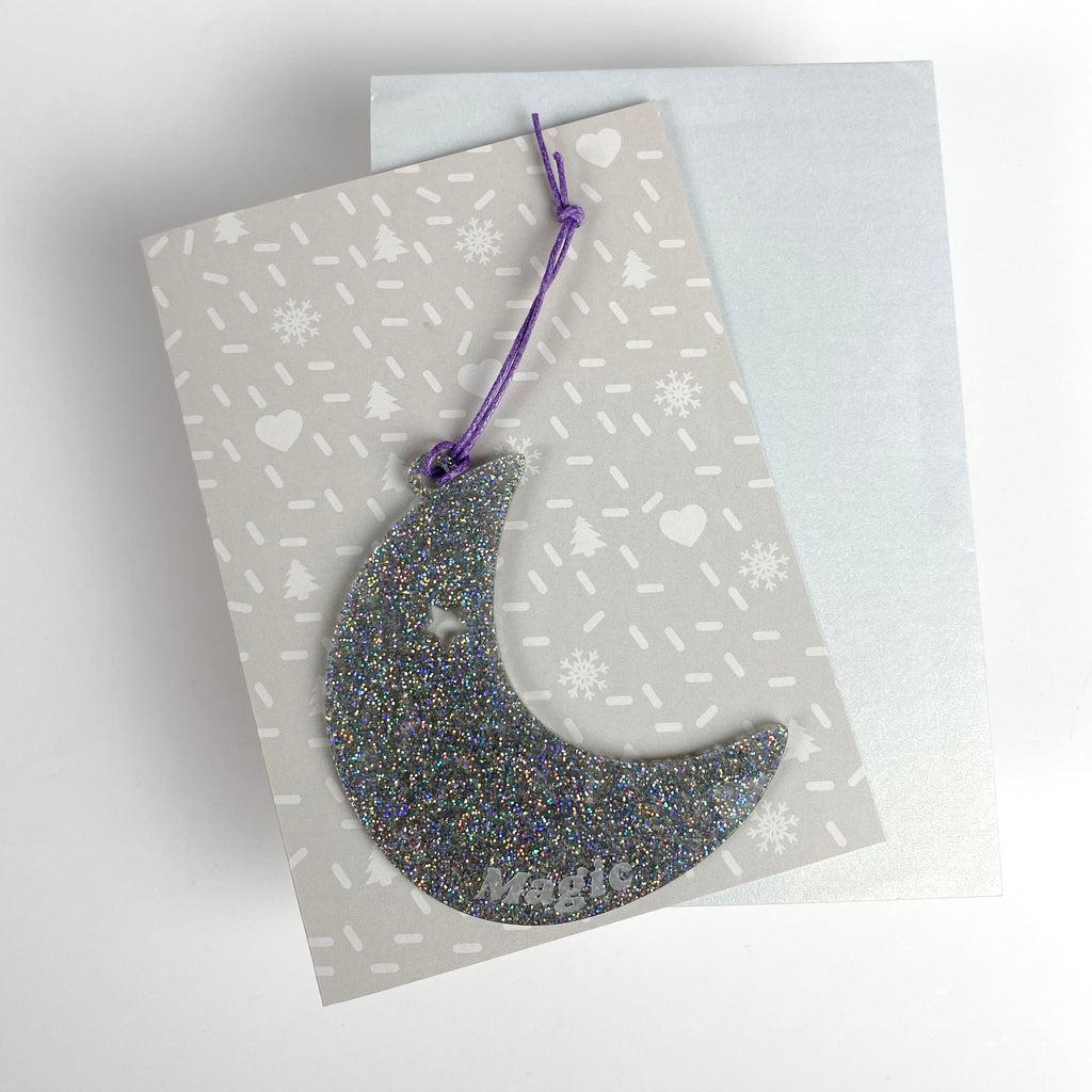 Moon Magic Christmas Bauble with card; glitter silver acrylic