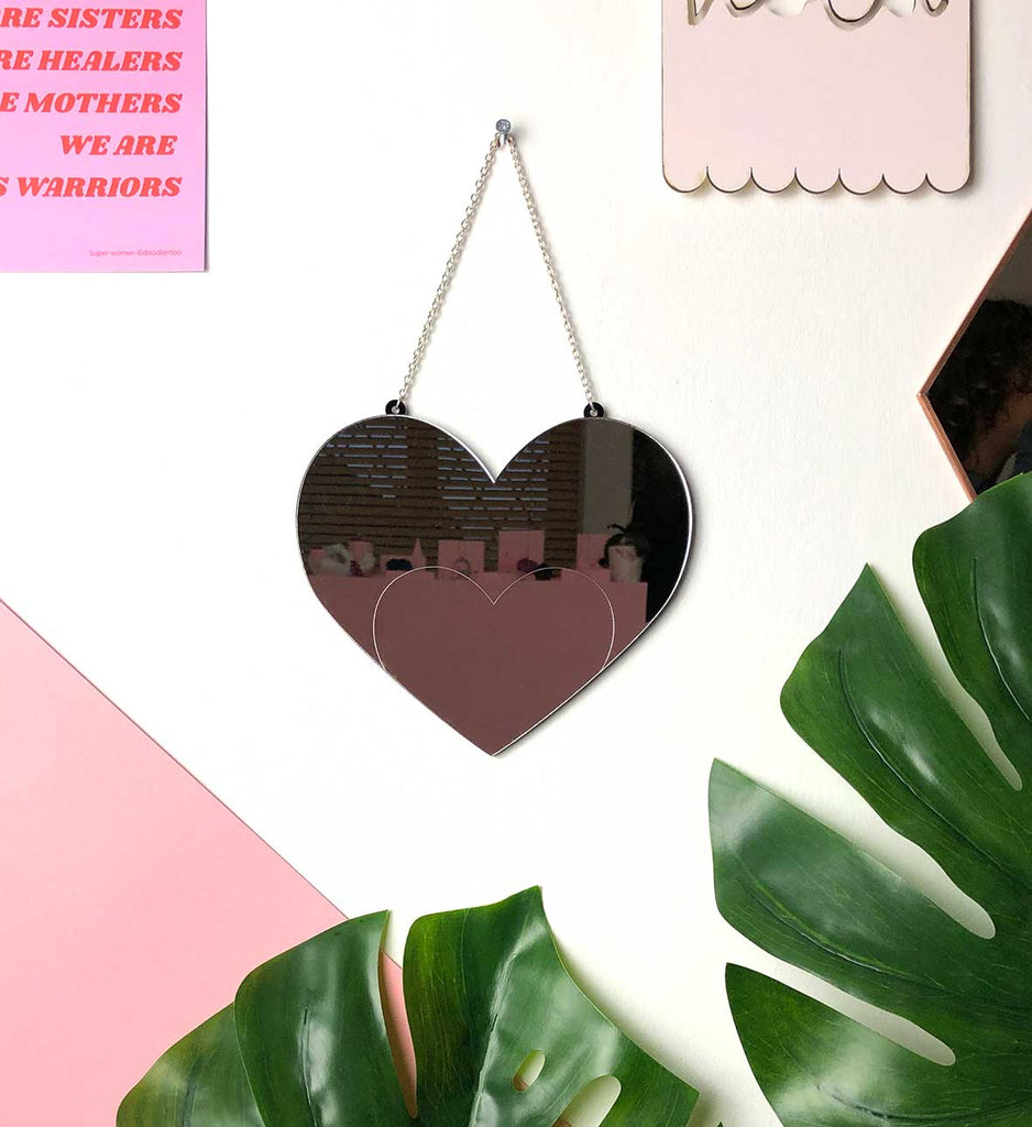 Heart mirror by Doodlemoo. Our Love mirror is perfect for any room in the moedern home.