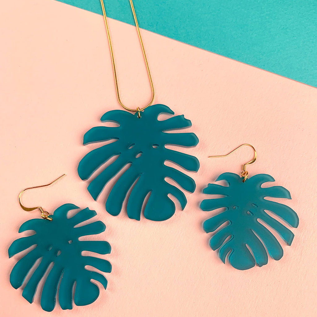 MONSTERA acrylic earrings; teal frosted