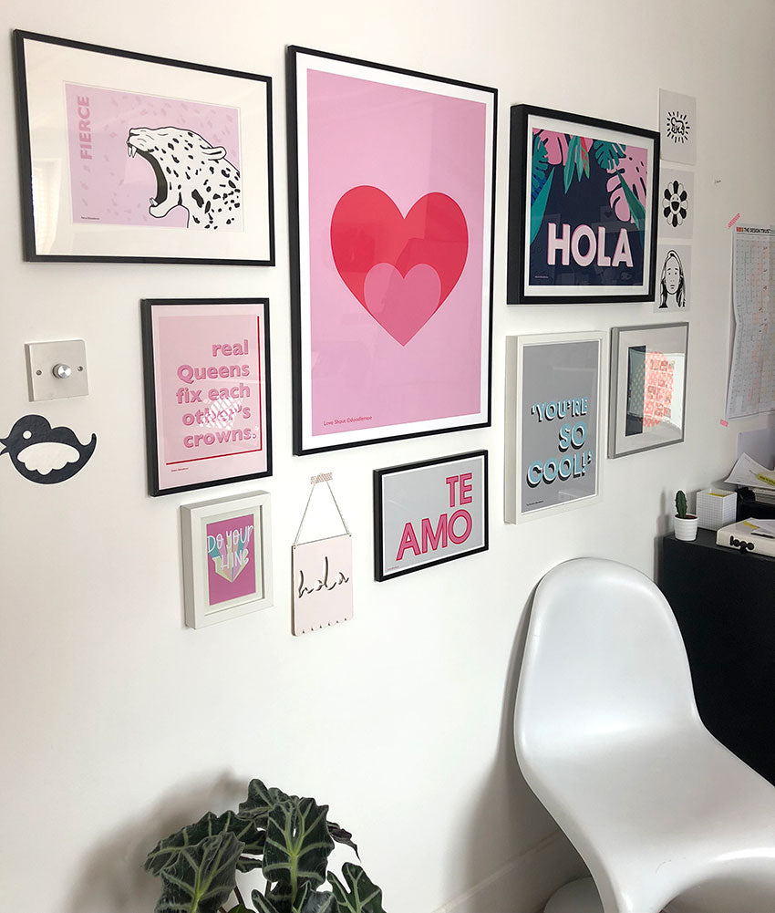 Gallery wall featuring Doodlemoo prints