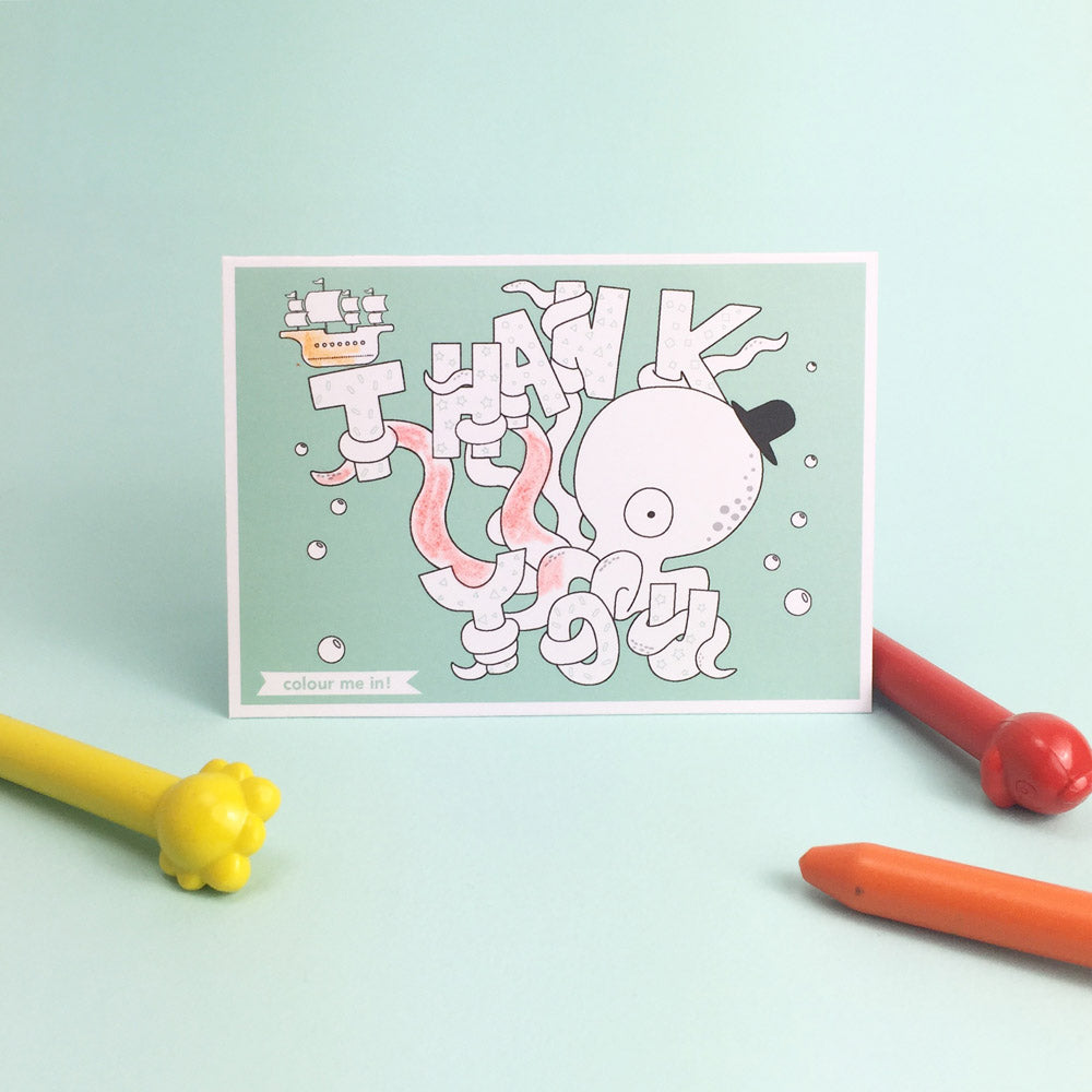 Thank you card colour me in