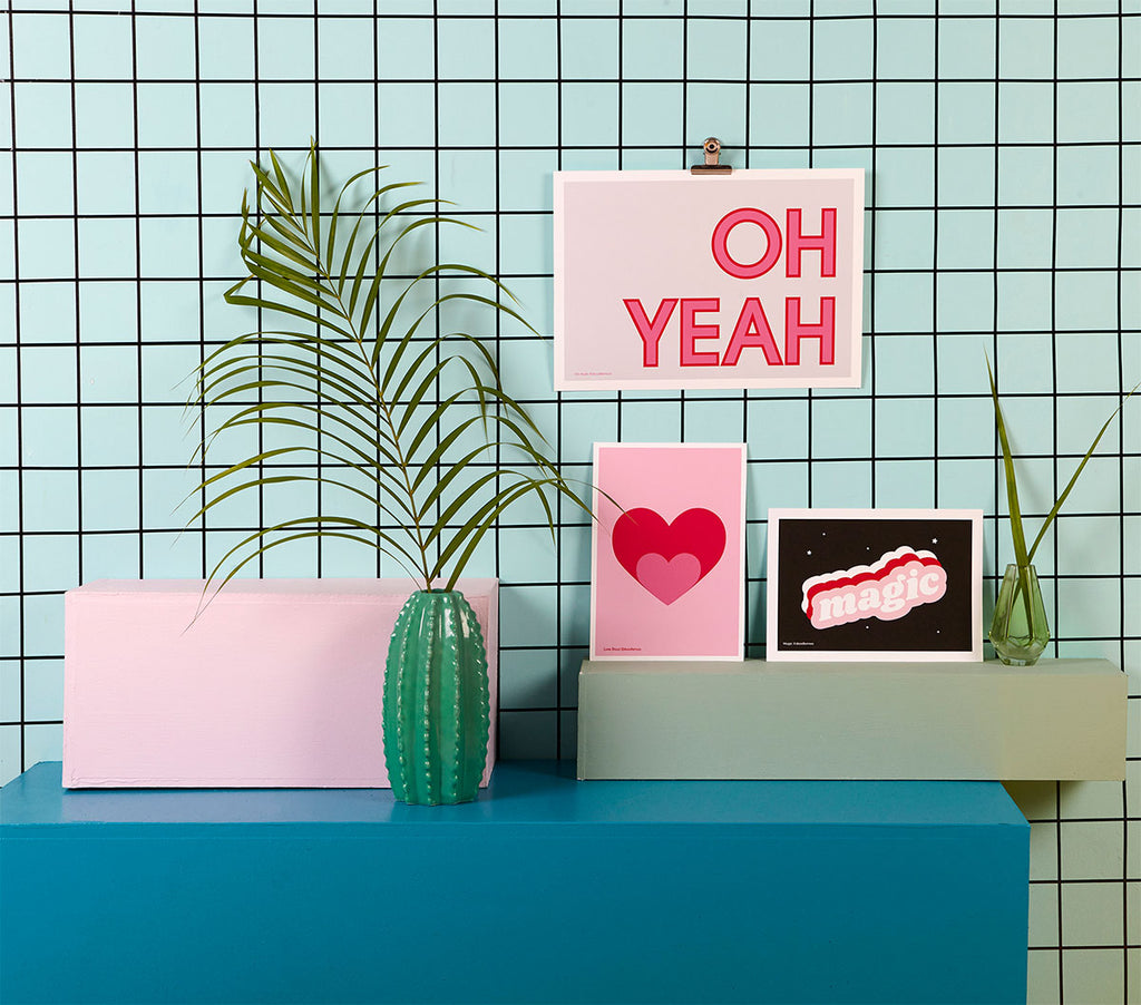 OH YEAH Typographic Print pink