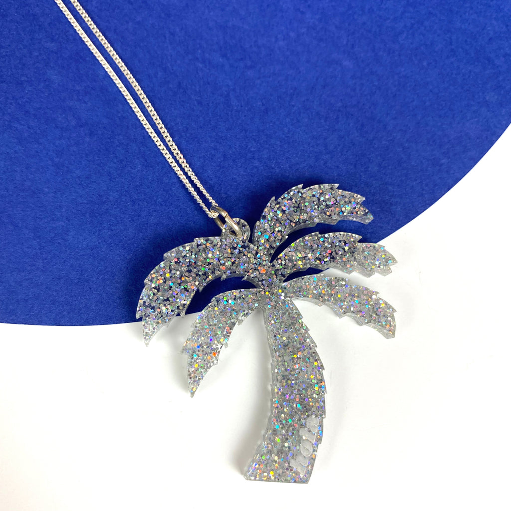 Palm tree Necklace - Acrylic Glitter & Sterling Silver