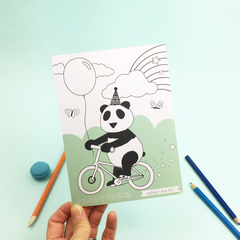 Panda birthday card colour me in