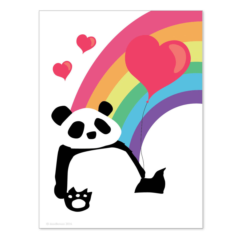 Panda Rainbow and Balloon mini print