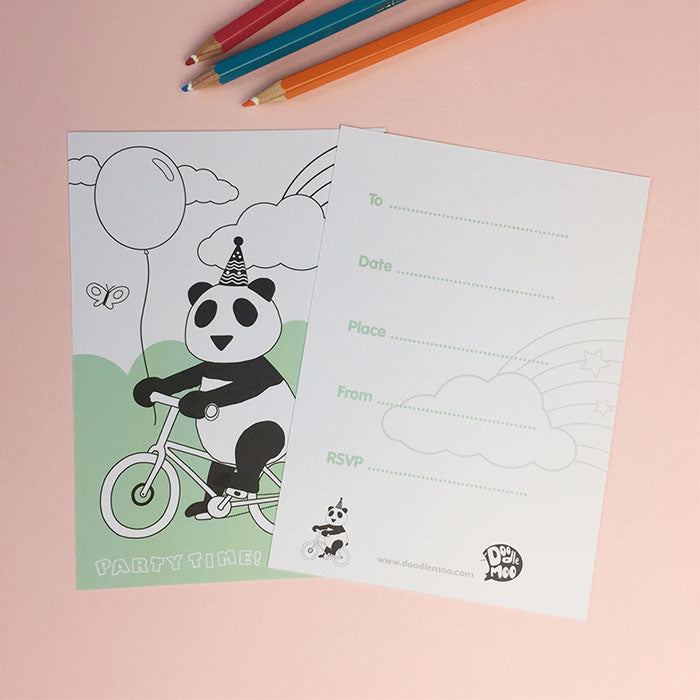 PANDA PARTY INVITE; colour me in postcards (PACK8)