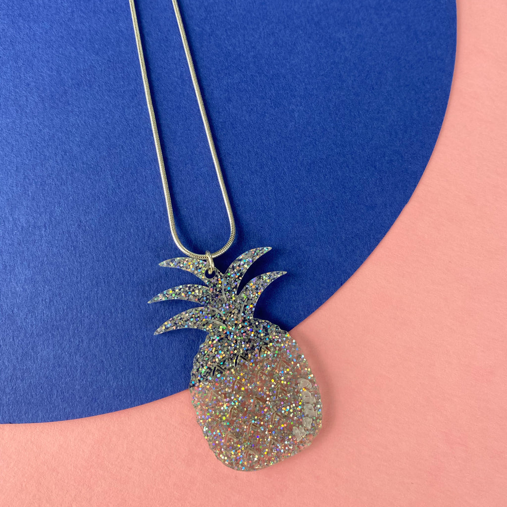 Pineapple Acrylic Necklace - Silver Glitter