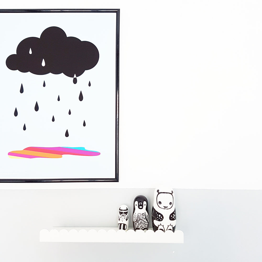 Cloud Print 'Rain me Happy' white