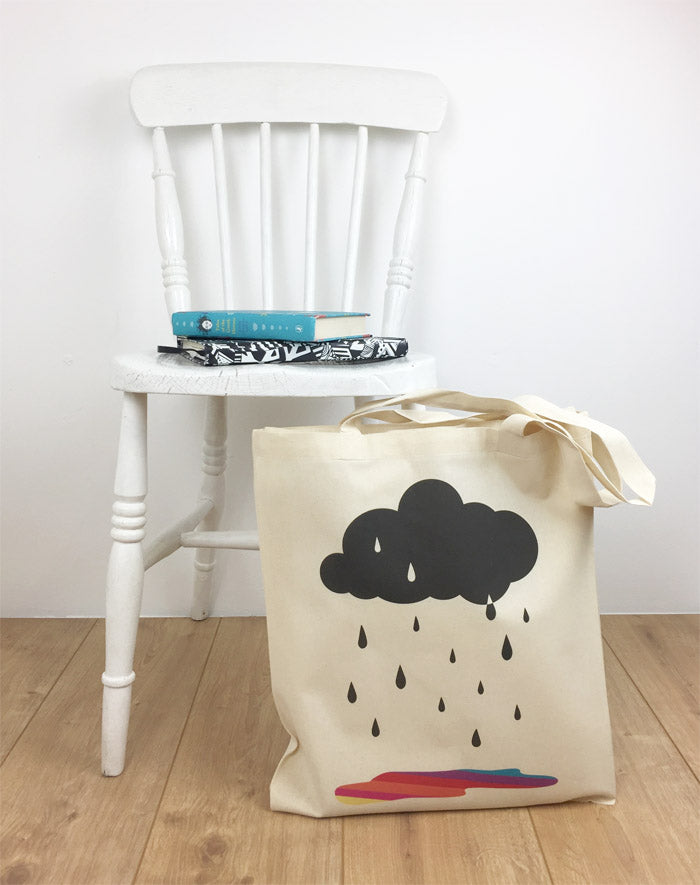 Tote bag CloudTote bag with Cloud, Rain and rainbow, Rain and rainbow